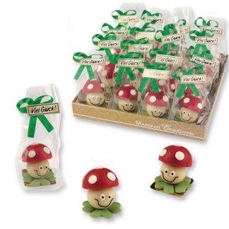 présentoir champignons colorés en pâte d'amande france décor