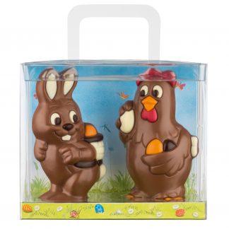 Valisette contenant 2 figurines de Pâques de 75g en chocolat au lait décoré: poule et lapin.