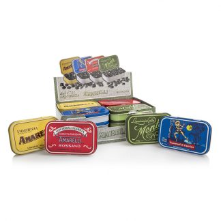 présentoir boîtes de réglisses assorties amarelli