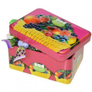 boîte fer de bonbons aux fruits du verger